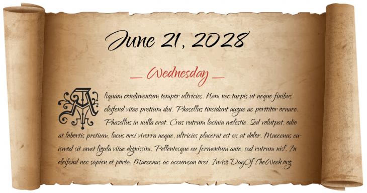Wednesday June 21, 2028