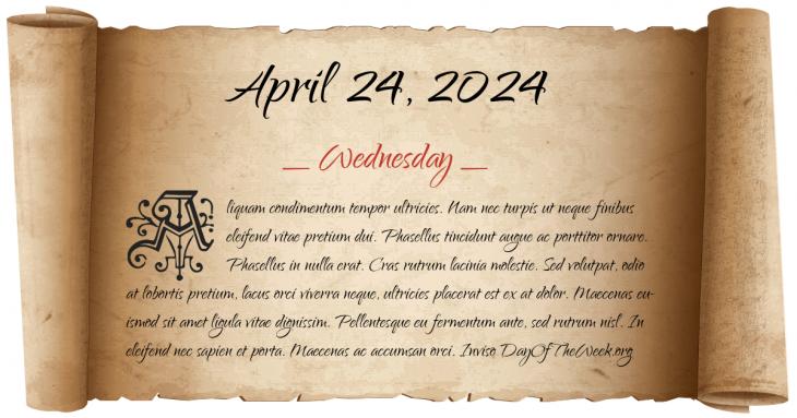 Wednesday April 24, 2024