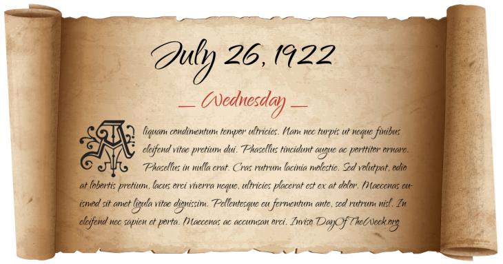 Wednesday July 26, 1922