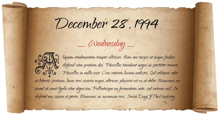 Wednesday December 28, 1994