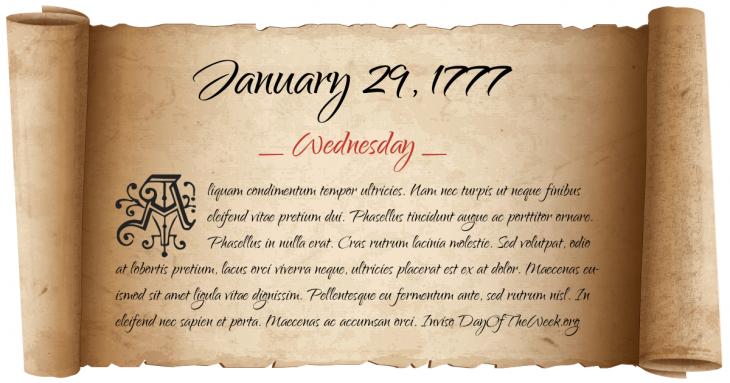 Wednesday January 29, 1777