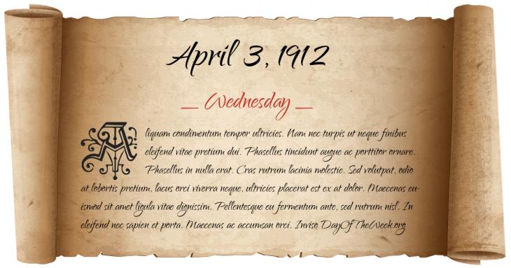 Wednesday April 3, 1912