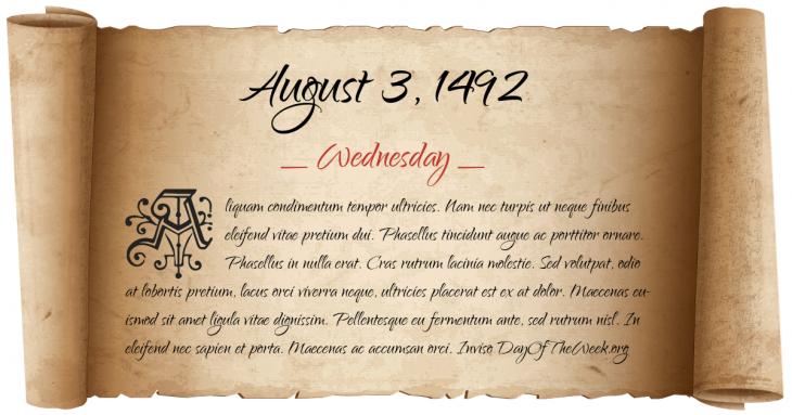 Wednesday August 3, 1492