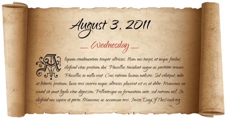 Wednesday August 3, 2011
