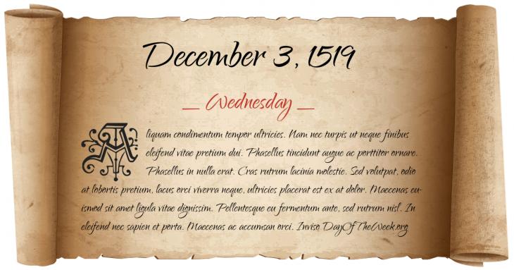 Wednesday December 3, 1519