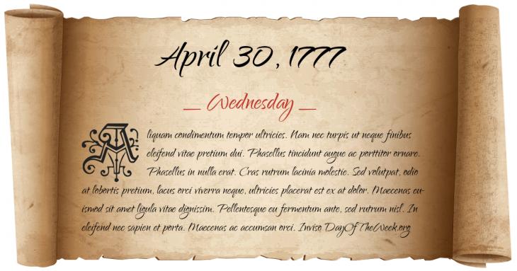 Wednesday April 30, 1777