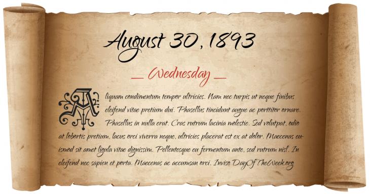Wednesday August 30, 1893