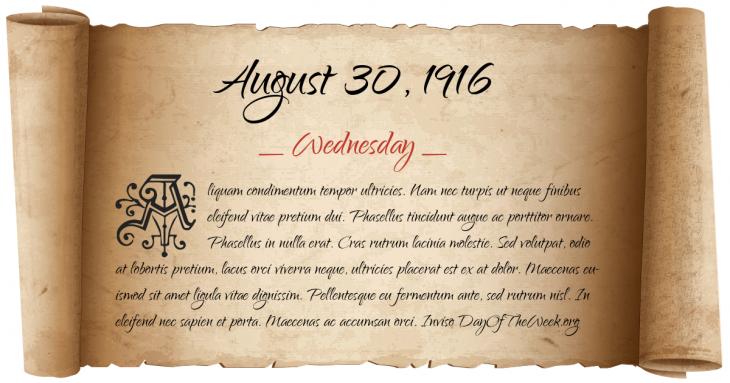 Wednesday August 30, 1916