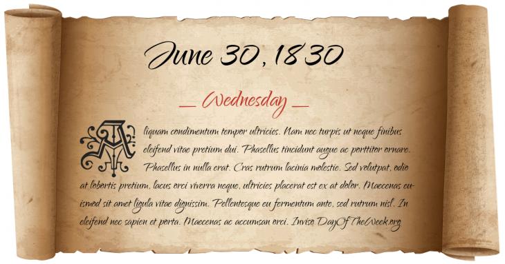 Wednesday June 30, 1830