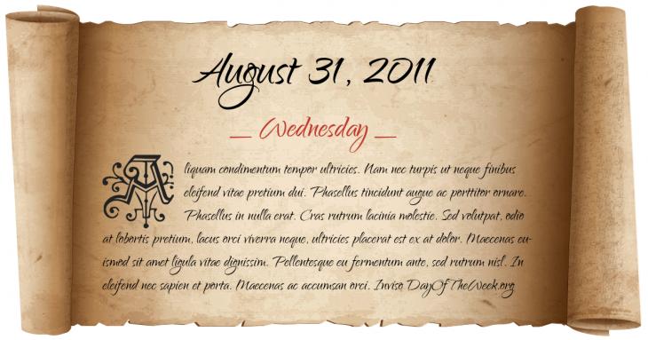 Wednesday August 31, 2011