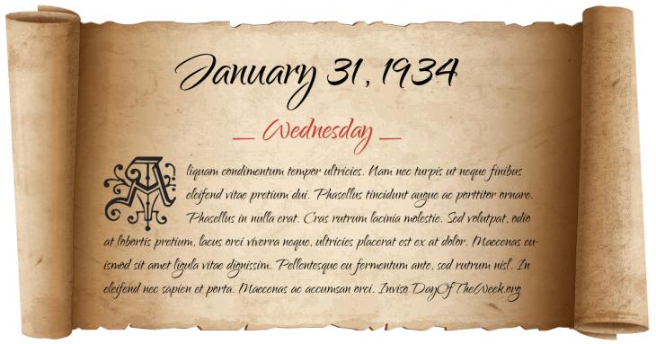 Wednesday January 31, 1934