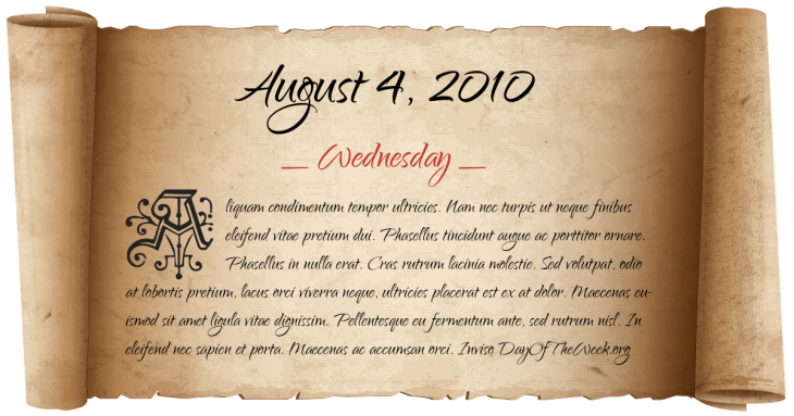 Wednesday August 4, 2010