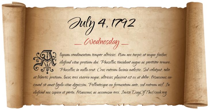 Wednesday July 4, 1792