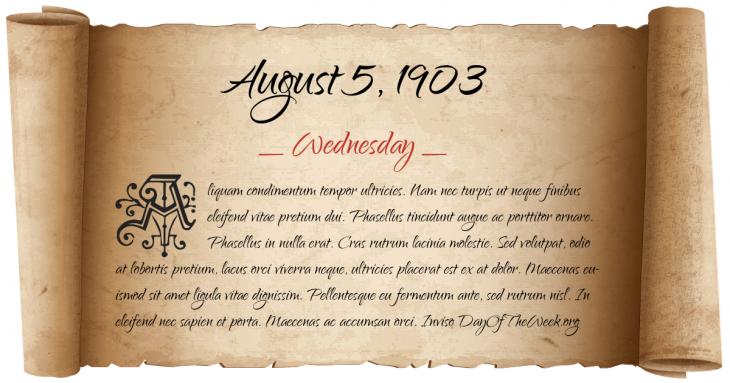 Wednesday August 5, 1903