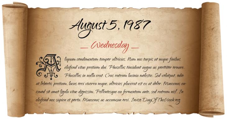 Wednesday August 5, 1987
