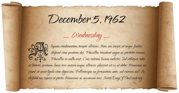 Wednesday December 5, 1962