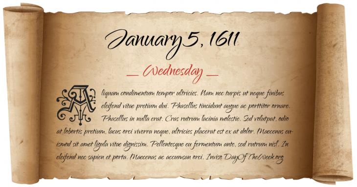 Wednesday January 5, 1611