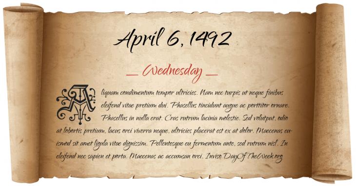 Wednesday April 6, 1492