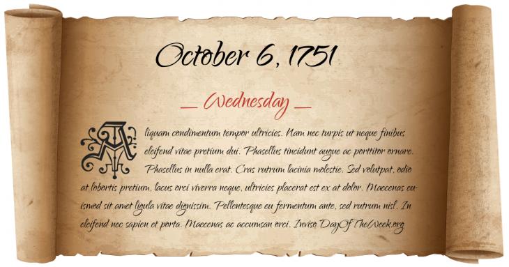 Wednesday October 6, 1751