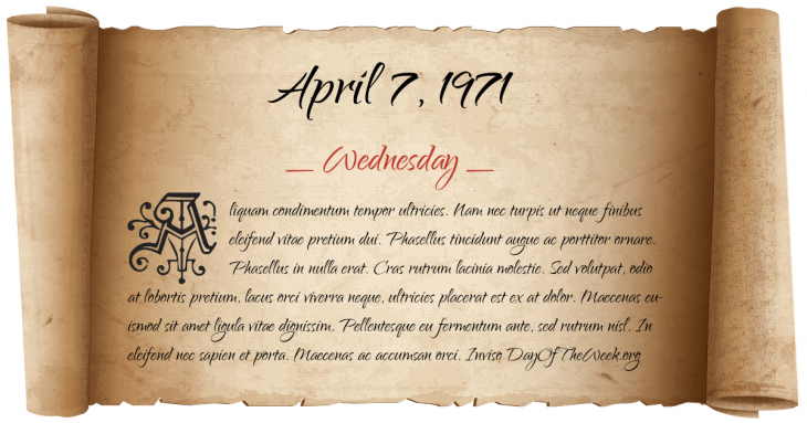 Wednesday April 7, 1971
