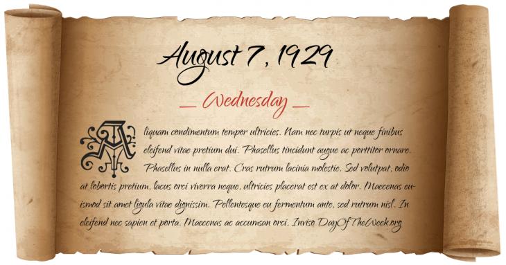 Wednesday August 7, 1929