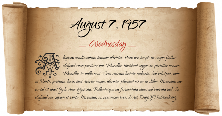 Wednesday August 7, 1957
