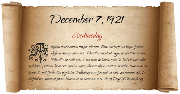 Wednesday December 7, 1921