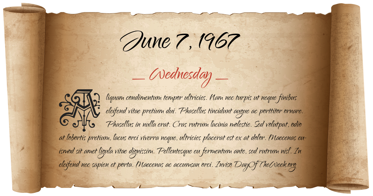 June 7, 1967 date scroll poster