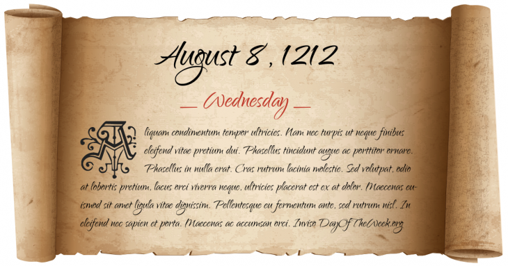 Wednesday August 8, 1212