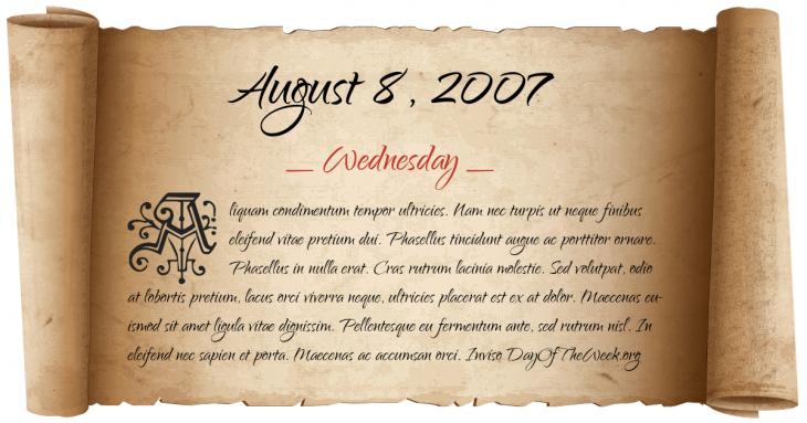 Wednesday August 8, 2007