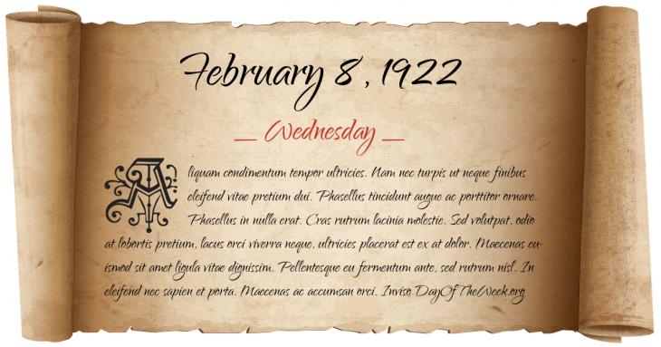 Wednesday February 8, 1922