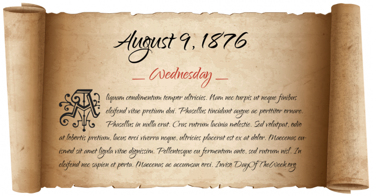 Wednesday August 9, 1876