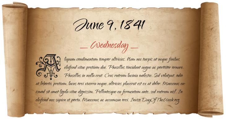Wednesday June 9, 1841