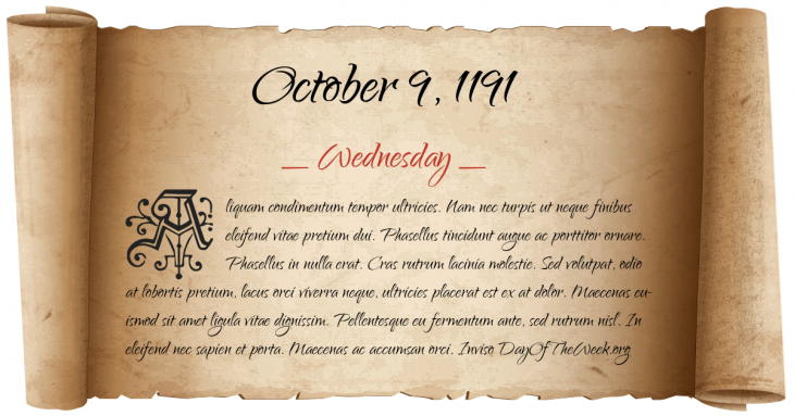 Wednesday October 9, 1191